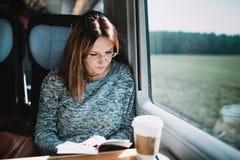 Lezingsboek op de trein stock foto's