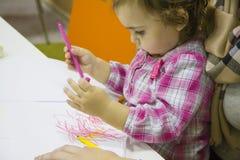 Lezione creativa per i bambini ed i loro genitori Immagini Stock