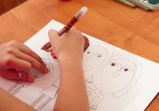 Lezione del disegno nell'asilo Fotografie Stock