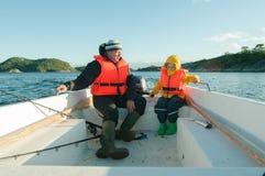 Lezione di guida della barca Fotografia Stock Libera da Diritti