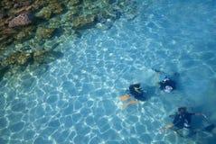 Lezione di immersione subacquea fotografia stock