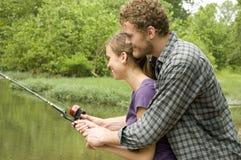 Lezione di pesca Fotografie Stock Libere da Diritti