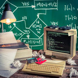 Lezione di programmazione d'annata alla scuola Immagini Stock