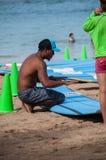 Lezioni della spuma di Waikiki Fotografie Stock Libere da Diritti