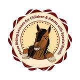 Lezioni di guida del cavallino e del cavallo - bollo/logo stampabili illustrazione vettoriale