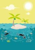 Lezioni di immersione subacquea in un'isola ricca di corallo Clipart editabile Fotografie Stock Libere da Diritti