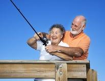 Lezioni di pesca fotografia stock