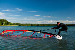 Lezioni Windsurfing Fotografia Stock