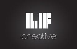 LF L lettre Logo Design With White de F et lignes noires Photo stock