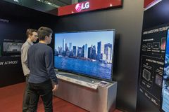 LG booth during CEE 2017 in Kiev, Ukraine. People visit LG, a South Korean multinational conglomerate corporation booth during CEE 2017, the largest electronics Stock Photos