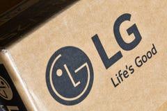 LG company logo on carton box closeup. Royalty Free Stock Image