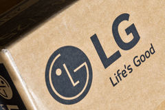 LG company logo on carton box closeup. Royalty Free Stock Image