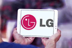 LG company logo. Logo of electronics company LG on samsung tablet stock photography
