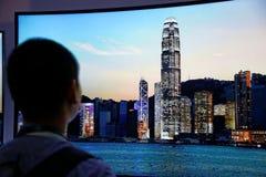 LG 4K изогнул дисплей CES 2014 OLED Стоковые Изображения