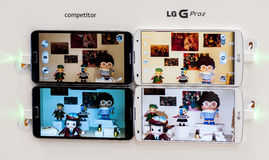 LG PRO 2, PICTURES COMPARISON, MOBILE WORLD CONGRESS 2014 Royalty Free Stock Photos