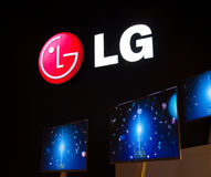 LG Slimline TV at IFA. Photograph taken from the LG showcase at IFA in Berlin Royalty Free Stock Photography