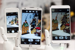 LG-TELEFONER, MOBIL VÄRLDSKONGRESS 2014 Arkivfoto