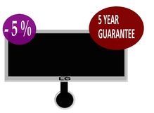 Sign a five year warranty and five percent discount cash. LG TV with a five year guarantee and five percent discount if you pay cash Stock Image