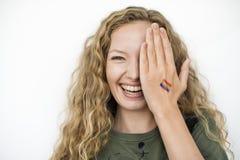 LGBT女同性恋的快乐两性的换性者团结的概念 库存图片