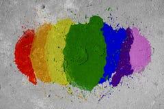 LGBT彩虹在墙壁上喷漆颜色 免版税库存照片