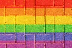 LGBT自然样式或瓦片纹理桌透视图 砖纹理背景表面 五颜六色的详细资料外部房子老纹理葡萄酒 免版税库存图片
