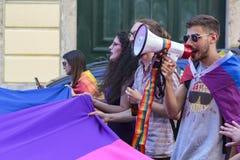 LGBT骄傲游行的活动家在里斯本 库存图片