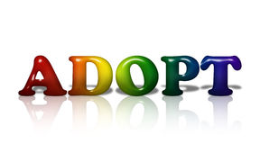 LGBT adoption. Word Adopt in 3D LGBT flag colors over white with copy-space, LGBT adoption Royalty Free Stock Photography