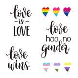 LGBT aman poner letras de los lemas ilustración del vector
