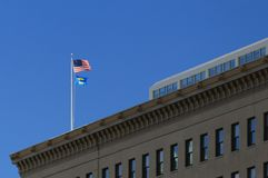 LGBT and American flags of building Stock Photography