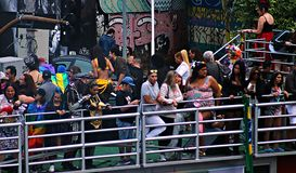 LGBT 2018 Parade in São Paulo, Brazil. Members and organizers on top of car sound. royalty free stock image