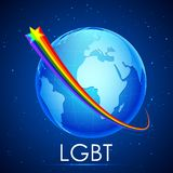 LGBT Awarness Concept. Illustration of rainbow flag color stripe around Earth showing LGBT concept royalty free illustration