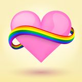 LGBT Background heart and rainbow ribbon. LGBT Background pink heart and rainbow ribbon. Vector illustration. Love, gay, lesbian and sexual minorities. Editable Stock Photography