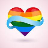 LGBT Background rainbow heart and ribbon. Stock Image