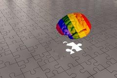 LGBT Brain Concept para a prata uma parte de enigmas faltantes ilustração stock
