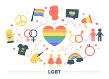 LGBT community concept. Idea of homosexual and bisexual. Relationship, transgender person. Rainbow symbol of gay orientation. Collection of colorful icons vector illustration