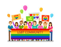 LGBT community. Gay parade, holiday, festival, celebration icon. Happy people with placards stock illustration