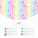 LGBT concept with thin line icons: gay, lesbian, rainbow, coming out, free love, flag, support, stop homophobia, LGBT rights, stock illustration