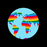 LGBT earth. Planet mainland and gay flag rainbow colors Stock Photo