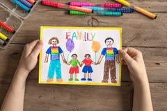 LGBT-familjteckning fotografering för bildbyråer