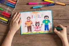 LGBT-familjteckning royaltyfria bilder