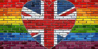 LGBT flag on a brick wall with the Great Britain heart. Illustration, Abstract grunge United Kingdom flag and LGBT flag royalty free illustration