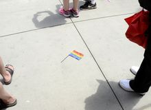 LGBT Flag at the Gay Pride March in New York City. NEW YORK CITY - JUNE 30:  Large crowds gather for the annual NYC LGBT Gay Pride March in Manhattan on June 30 Royalty Free Stock Image