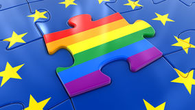 LGBT flag Jigsaw as part of EU. Image of LGBT flag Jigsaw as part of EU vector illustration