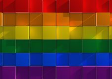 LGBT flag made from tiles. An abstract background image of tiles or cubes in the theme of the LGBT rainbow flag Royalty Free Stock Image