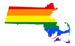 LGBT lesbian, gay, bisexual, and transgender pride flag. LGBT flag map of Massachusetts. Vector rainbow map of Massachusetts in colors of LGBT lesbian, gay royalty free illustration