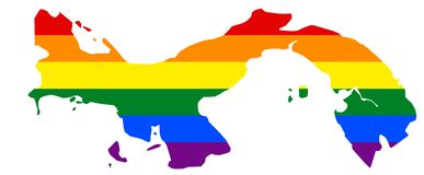 LGBT flag map. Vector rainbow map in colors of LGBT lesbian, gay, bisexual, and transgender pride flag. LGBT flag map of Panama. Vector rainbow map of Panama in royalty free illustration