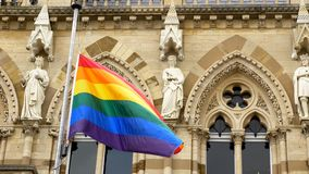 LGBT flag over Northampton Guildhall building on Pride Festival Weekend in UK.  stock images