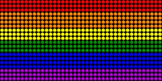LGBT Flag With Spheres Effect. 2D rendered image of LGBT flag with spheres effect Stock Photo