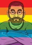 LGBT-flagga och skäggig man Arkivbilder