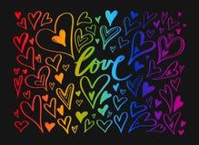 LGBT-Flagge gegen homosexuelle Unterscheidung Vektorhand gezeichnet stock abbildung
